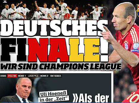 """כותרת עיתון ה""""בילד"""" הגרמני (צפו ב-0:3 של באיירן על ברצלונה בקאמפ נואו)"""
