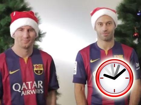 מסי בתפקיד סנטה: כריסמס שמח מברצלונה