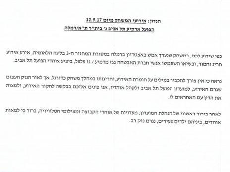 המכתב שנשלח להתאחדות