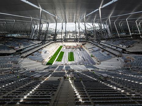 עדיין לא מוכן. אצטדיון טוטנהאם החדש (Getty)