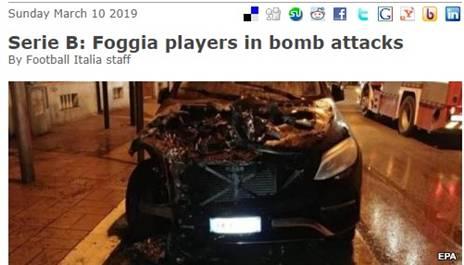 """מכוניתו של חלוץ הקבוצה נמצאה שרופה (כותרת האתר """"פוטבול איטליה"""")"""