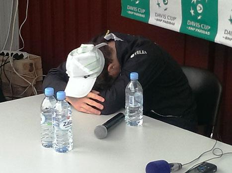 קאבצ'יץ' בוכה במסיבת העיתונאים לאחר המשחק (עפרה פרידמן, איגוד הטניס)