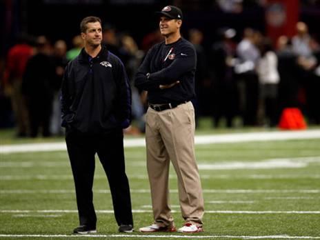 ג'ים וג'ון הארבו לפני הסופרבול (צילום: Chris Graythen/Getty Images)