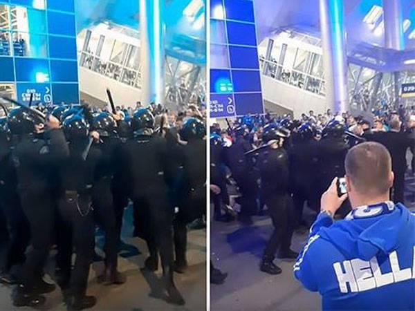 מהומות במשחק ברוסיה. האוהדים ניסו להגדיל את השטח המוגדר להם, המשטרה תקפה (צילום מסך)