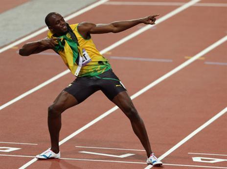 The Lightning Bolt. בולט אחרי הניצחון ב-100 בלונדון בזמן של 9.63 שניות (gettyimages)