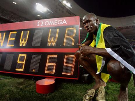 שיא עולם ראשון, 9.69 שניות ב-100 מטרים (gettyimages)