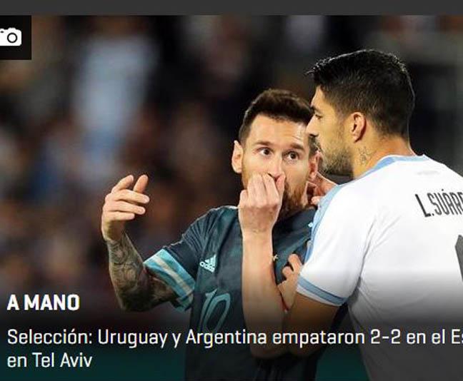 """""""כמעט וניצחה"""". כותרת ה""""פוטבול"""" באורוגוואי"""