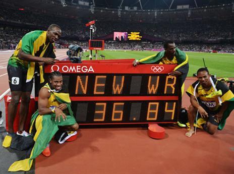 שיא עולם מספר 4 במשחקים - 36.84 שניות בשליחים. מדהים (gettyimages)