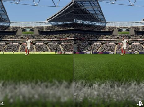 דשא בקירוב. PRO מימין, PS4 משמאל.