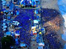 ככה נראה החוף בריו בזמן המשחק. איזו חגיגה בברזיל